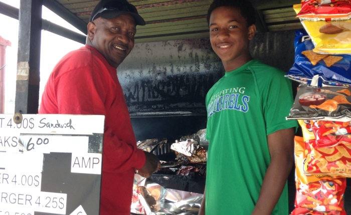 Meet Amp and his grandson Anthony.      Purveyors of Pulled Pork Perfection.